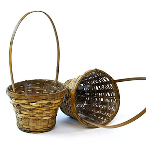 Bamboo Flower Basket Stained Small Single