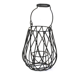 Wire  Lantern with Folding Handle Black