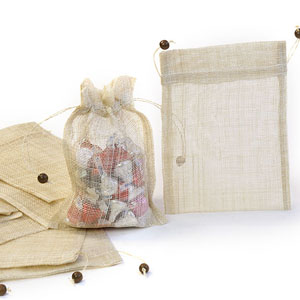 Sinamay Pouch Draw String 5x7 with wooden beads