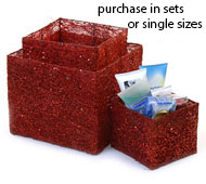 Sisal (Plant Fiber)  Cube box red s/3