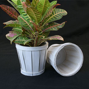 "6"" WOODCHIP POT COVER White"