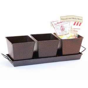 Metal  Powder Coated Brown Herb Container