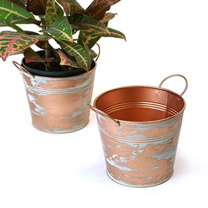 "6.5"" Tin Pot Copper Verdigris"