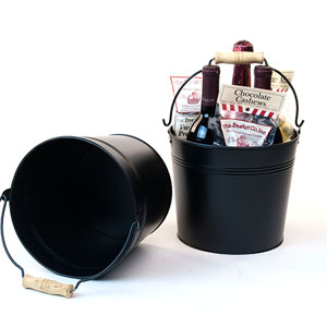 "8.5"" Pail Black with Wood Hndl"