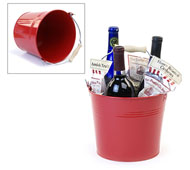 "8.5"" Metal Pail with Wood Handle Red"