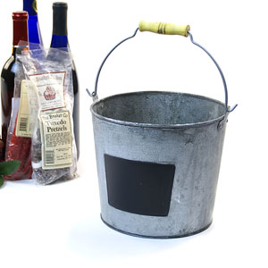 "8.5"" Metal Pail VINTAGE WITH CHALKBOARD"