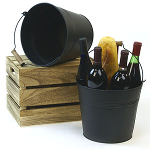 "10""  Pail black with Wood Handle"