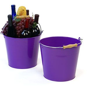 "10""  Pail Purple with Wood Handle"