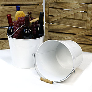 "10""  Pail White with Wood Handle"
