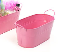 "12"" Oval Tin Tub Pink"