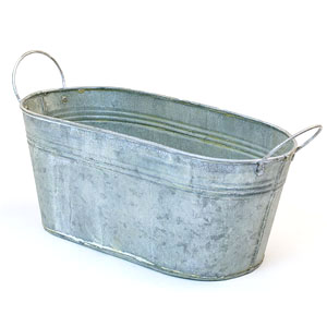 "12"" Tin Oval Tub Vintage Finish"