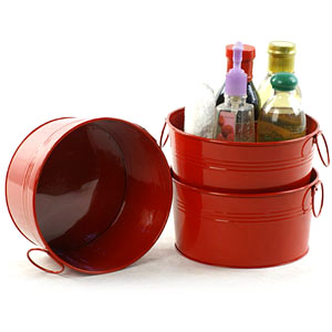 "8"" Round Tin Tub  Red"