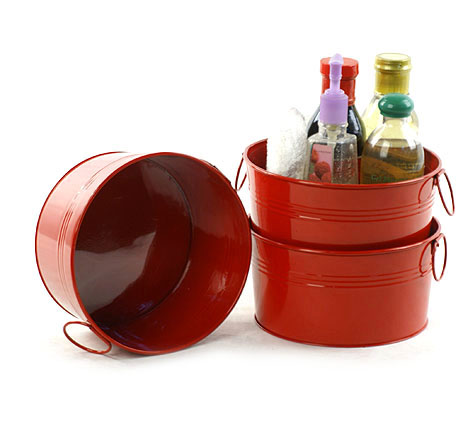 8 Inch Round Tub In Red Basket Wholesalers