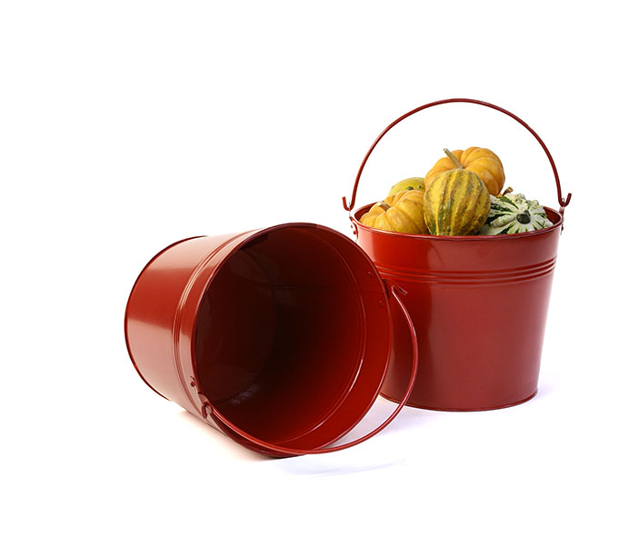 8 5 Quot Red Round Tin Pail