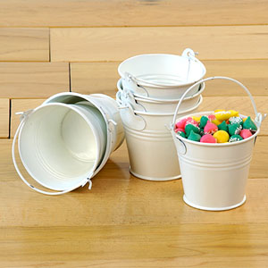 "2.5"" Mini Favor Tin Pail White"
