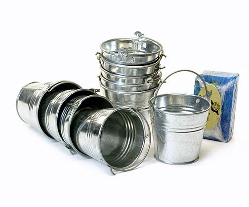 3 7 8 mini galvanized pail for Galvanized metal buckets small
