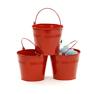 "6"" Red Galvanized Pail"