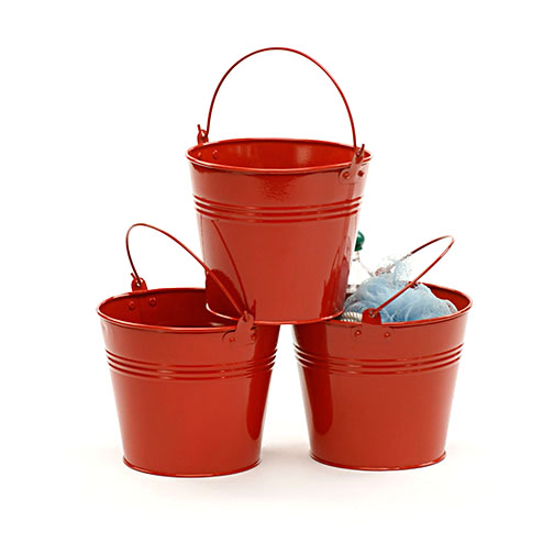 6 Red Galvanized Pail