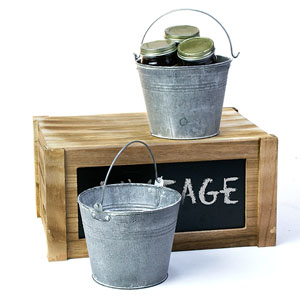 "6"" Tin PAIL Vintage Finish"