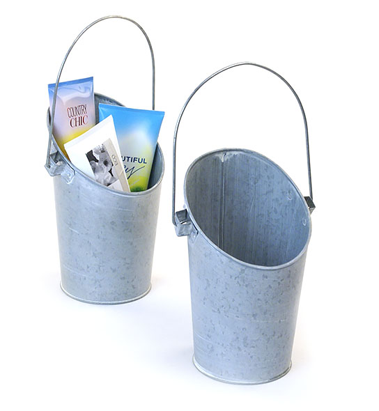 French Tall Bucket Galvanized Wall Pocket