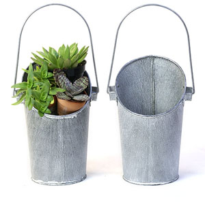 Metal Wall Pail Galvanized Vintage finish