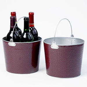 "8.5""  Pail  Faux Leather Eggplant"