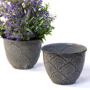 "5"" Solid Iron Metal Pot Antique Grey"