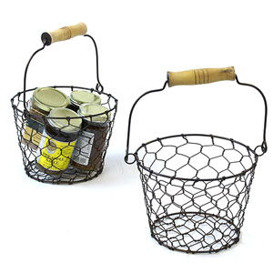 "7"" Wire Basket with Wood Handle Antique Brown"