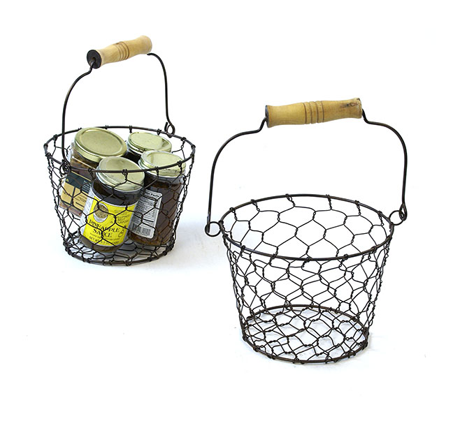 7 Quot Wire Basket With Wood Handle Antique Brown