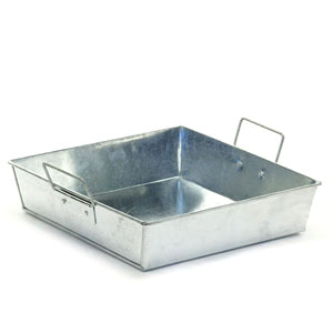 "9"" Square Galvanized Tray"
