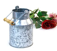Metal Milk Can Washed Galvanized